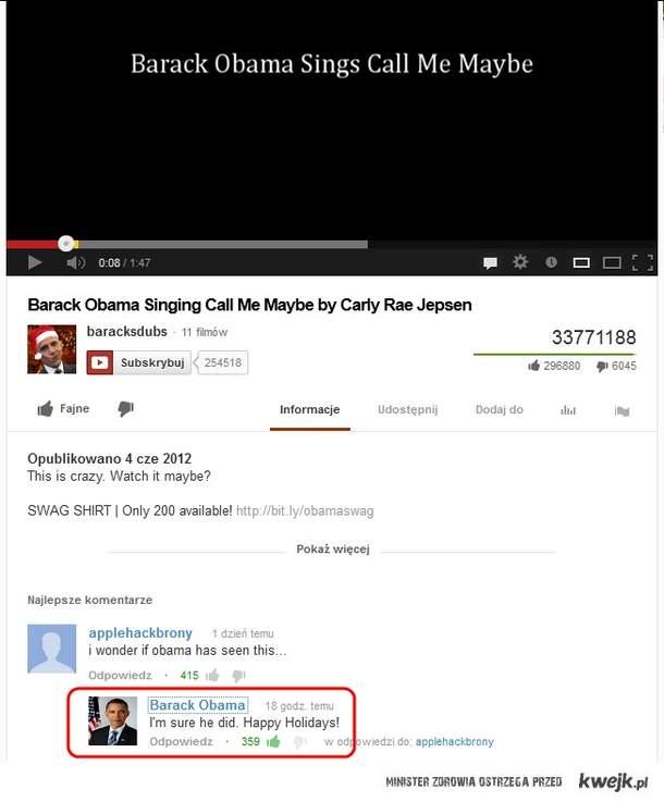 Komentarz Obamy na YouTube