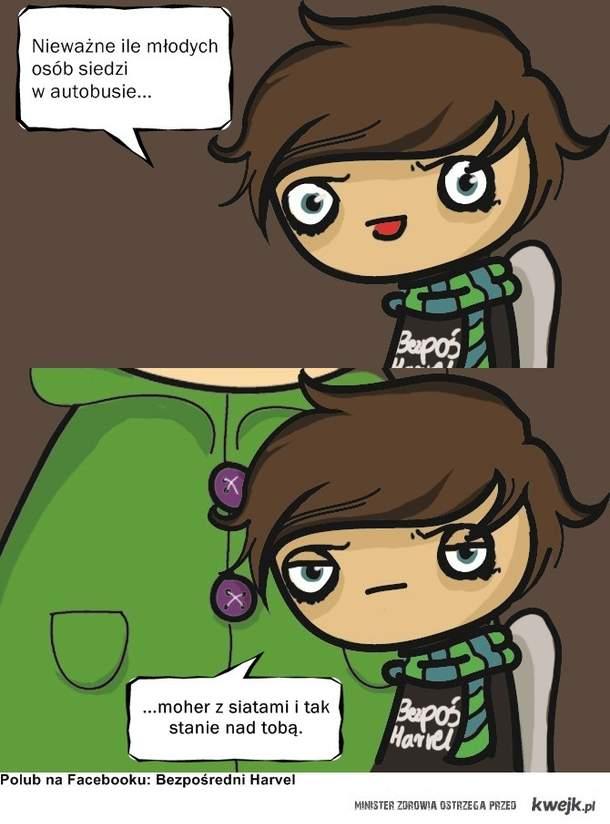 Harvel w autobusie