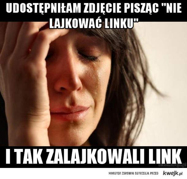 """udostępniłam zdjęcie pisząc """"nie lajkować linku"""""""