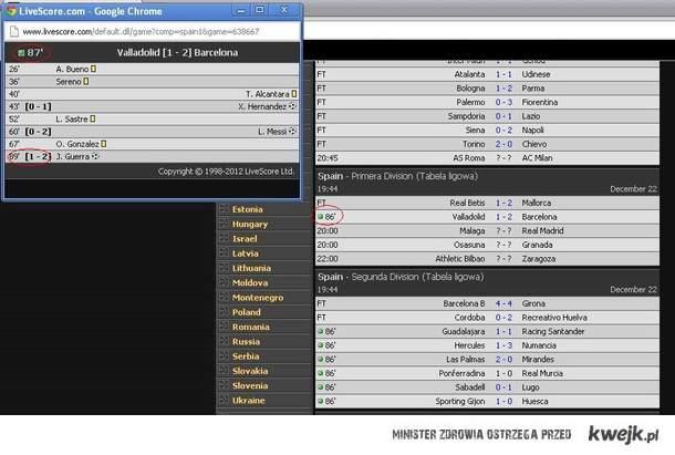 Barca kupiła mecz Livescores com wiedzieli co się stanie