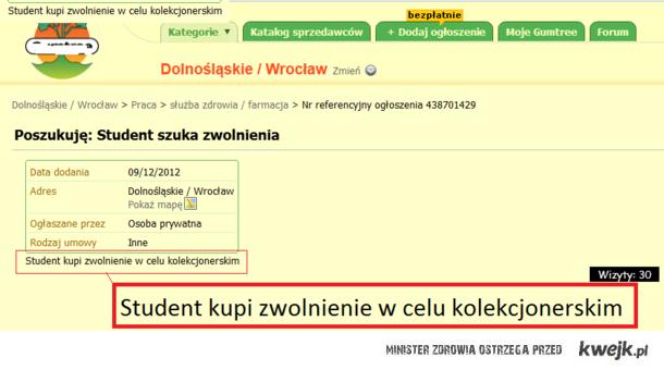 Student szuka zwolnienia