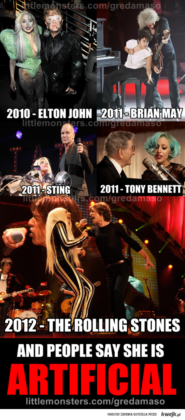 Gaga singing with other artists