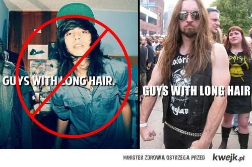 faceci z długimi włosami