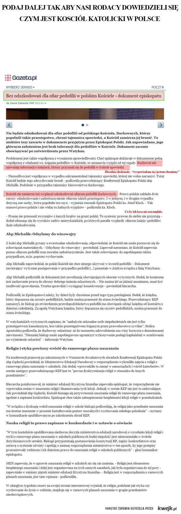 Bez odszkodowań dla ofiar pedofilii w polskim Kościele - dokument episkopatu