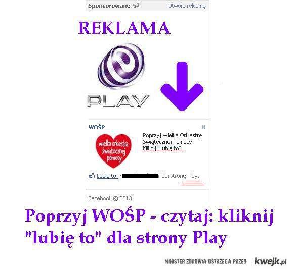 """""""Wspieraj"""" WOŚP lubiąc Play"""