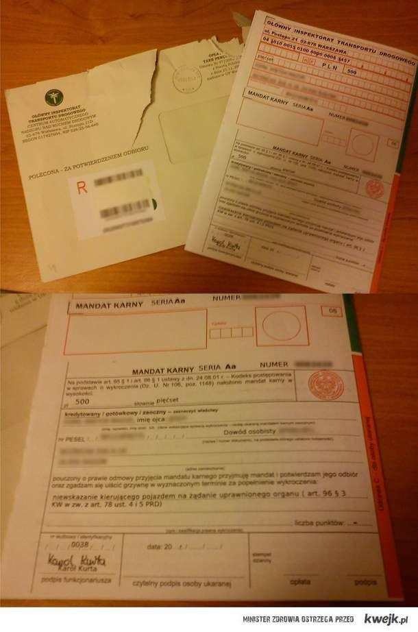 Niewskazanie kierującego pojazdem na żądanie uprawnionego organu - 500 zł