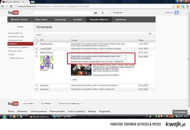 Skrzynka odbiorcza na YouTube