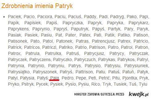 Zdrobnienie imienia Patryk