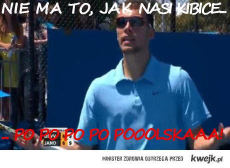 Polscy kibice na meczu Janowicza Australian Open
