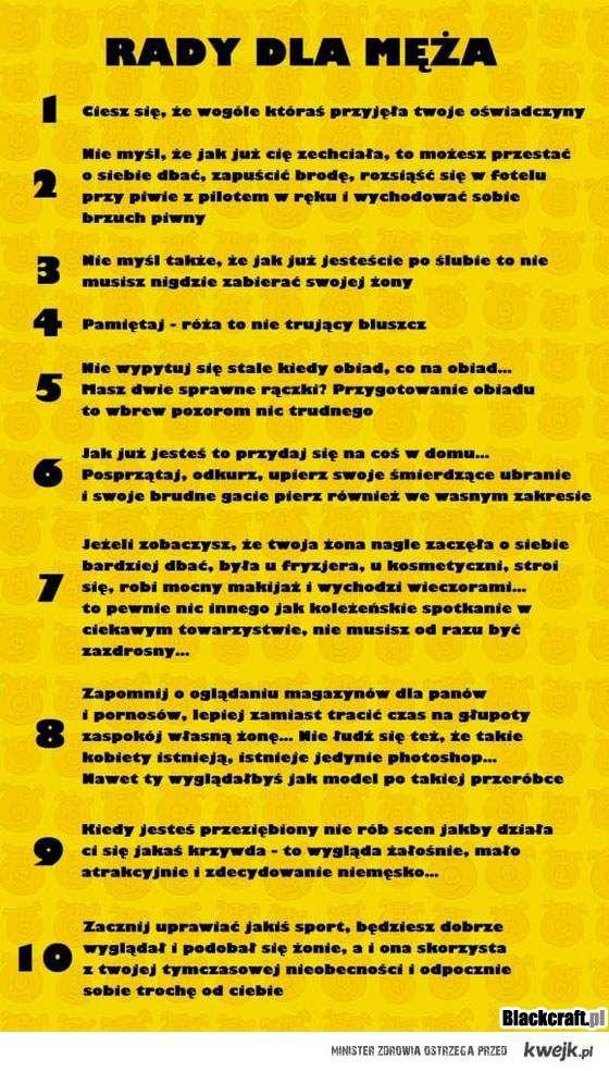 10 rad dla męża