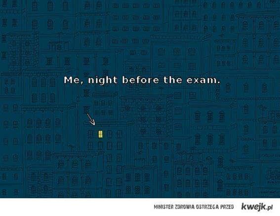 noc przed egzaminem