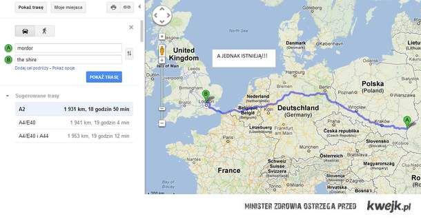 Google nie kłamią... Mordor w Przemyślu, The Shire w Anglii..