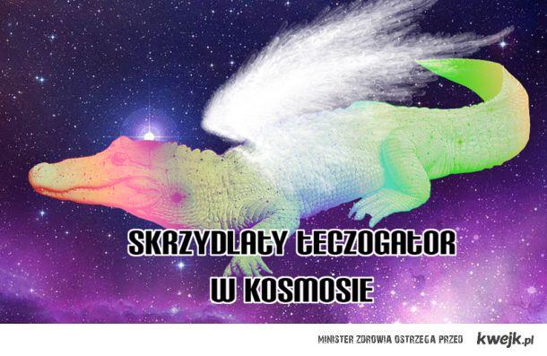 skrzydlaty tęczogator w kosmosie