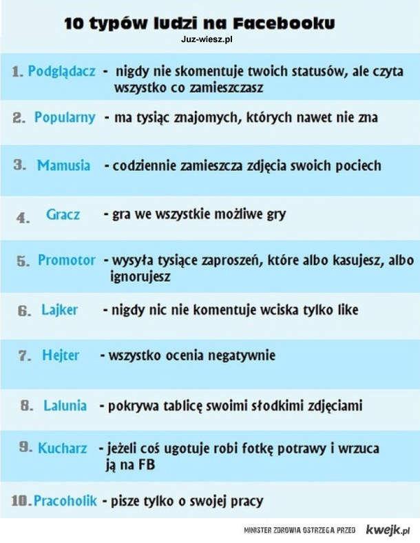 10 typów ludzi na FB