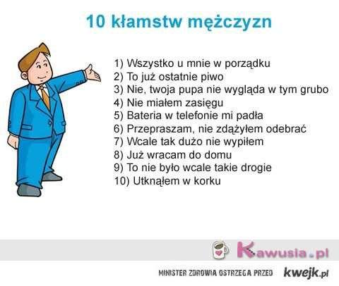 10 Męskich kłamstw