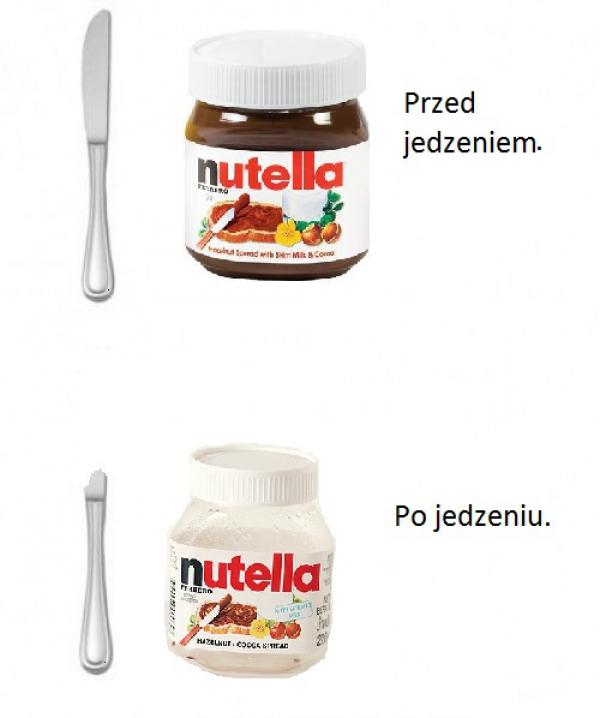 Nutella przed i po jedzeniu.