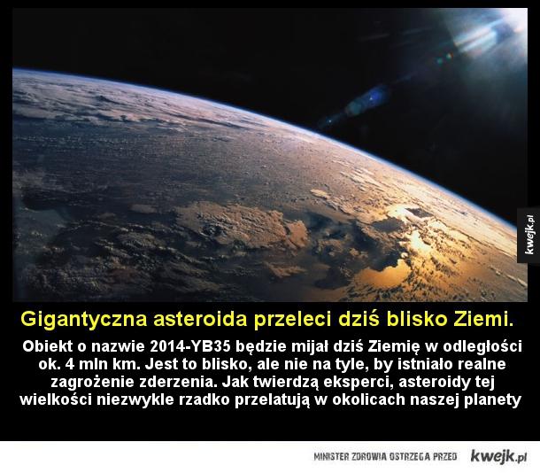 Olbrzymia asteroida mija Ziemię