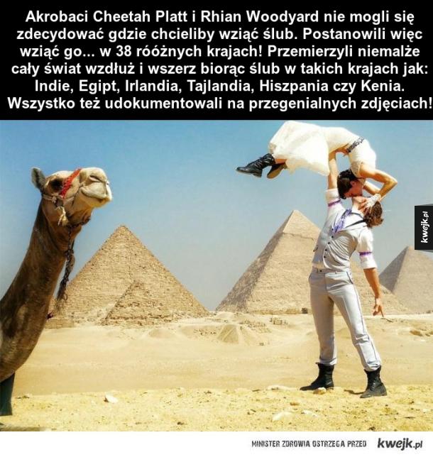 Para akrobatów przemierzyła świat i wzięła ślub w 38 różnych krajach!
