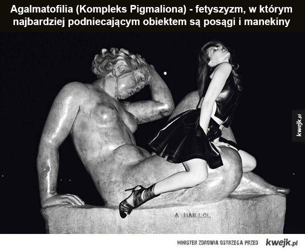 Agalmatofilia Kompleks Pigmaliona - fetyszyzm, w którym najbardziej podniecającym obiektem są posągi i manekiny Apotemnofilia - podniecenie osiągane jest poprzez kontakt z osobami o amputowanych kończynach