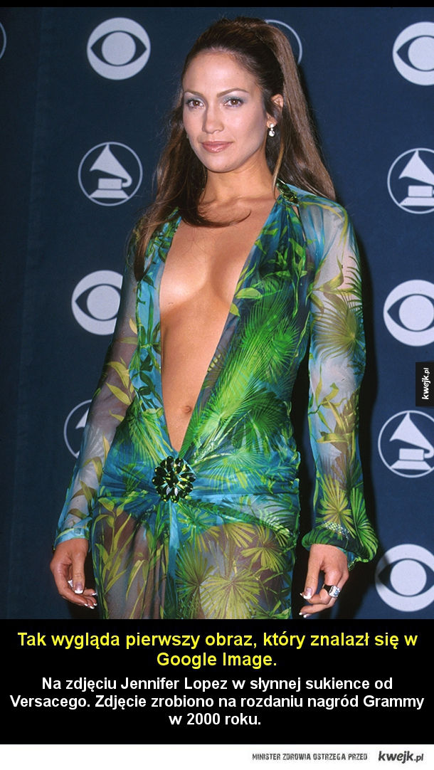 Na dobry początek - Na zdjęciu Jennifer Lopez w słynnej sukience od Versacego. Zdjęcie zrobiono na rozdaniu nagród Grammy w 2000 roku.