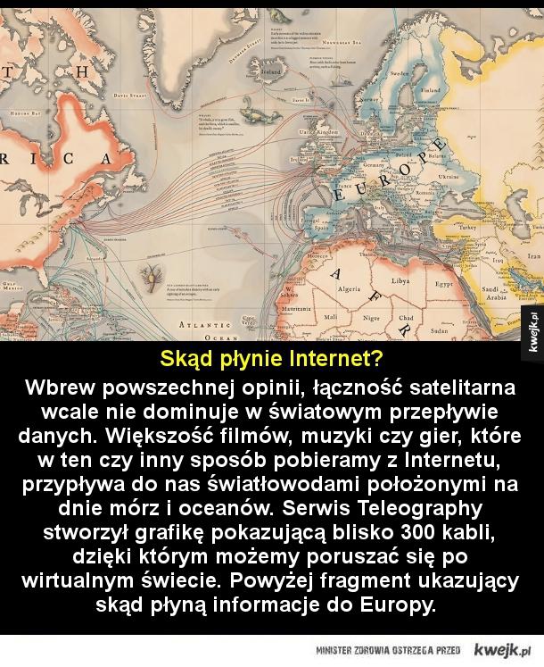 Skąd płynie Internet? - Wbrew powszechnej opinii, łączność satelitarna wcale nie dominuje w światowym przepływie danych. Większość filmów, muzyki czy gier, które w ten czy inny sposób pobieramy z Internetu, przypływa do nas światłowodami położonymi na dnie mórz i oceanów. Serwis