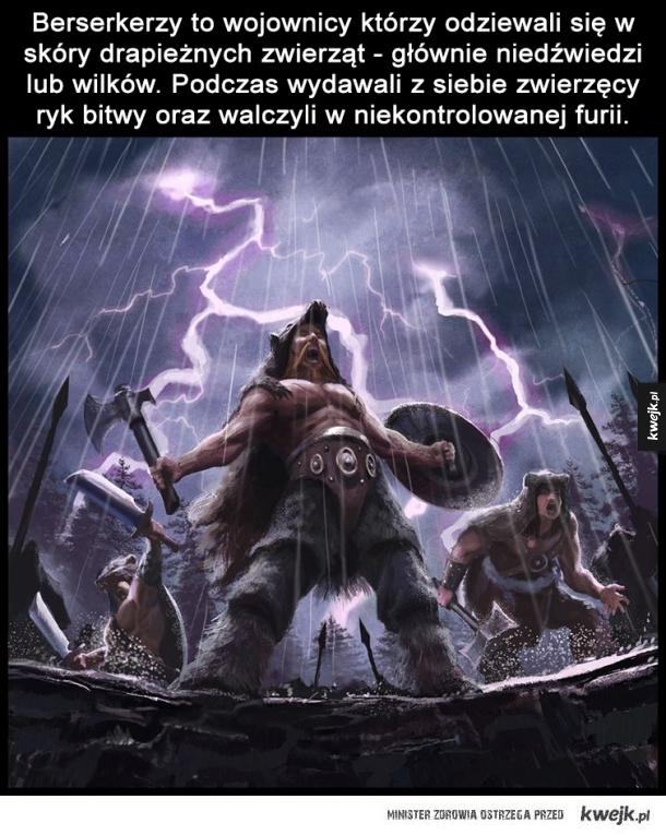 Garść ciekawostek o wikingach - Viking nie oznacza człowieka lecz czynność - udać się na viking oznacza dosłownie tyle co wybrać się na piracki rajd.  Eryk Czerwony był nie  Wikingowie nigdy nie nosili rogatych hełmów.  Rogate hełmy były używane przez germańskich i skandynawskich kapłanó