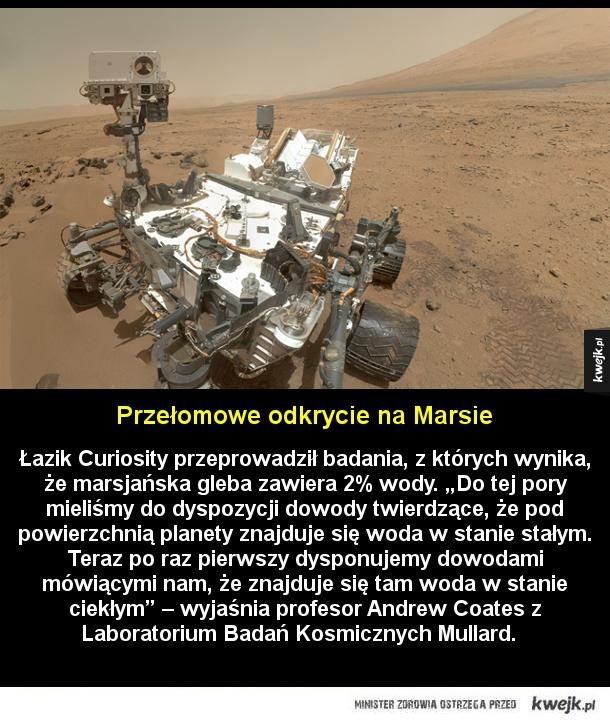 """Odkrycie na Marsie - Łazik Curiosity przeprowadził badania, z których wynika, że marsjańska gleba zawiera 2% wody. """"Do tej pory mieliśmy do dyspozycji dowody twierdzące, że pod powierzchnią planety znajduje się woda w stanie stałym. Teraz po raz pierwszy dysponujemy dowodami m"""