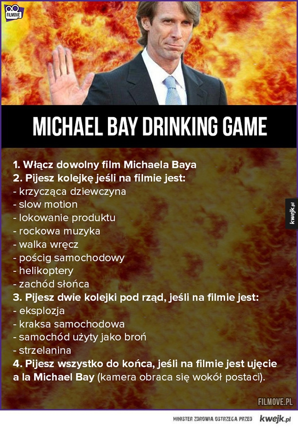 Michael Bay Drinking Game