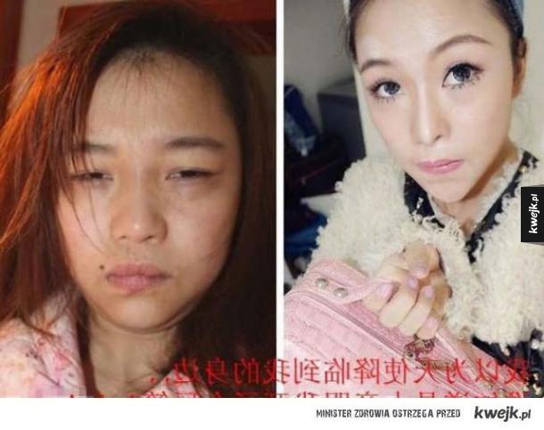 Azjatki przed i po nałożeniu makijażu