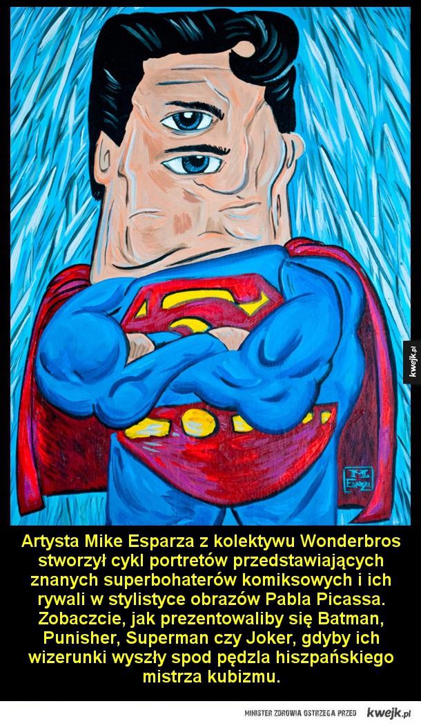 Artysta Mike Esparza z kolektywu Wonderbros stworzył cykl portretów przedstawiających znanych superbohaterów komiksowych i ich rywali w stylistyce obrazów Pabla Picassa. Zobaczcie, jak prezentowaliby się Batman, Punisher, Superman czy Joker, gdyby ich wize