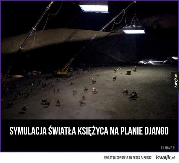 Symulacja światła księżyca na planie Django