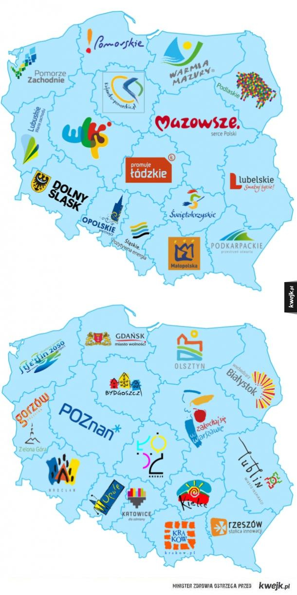 Logotypy polskich miast i województw