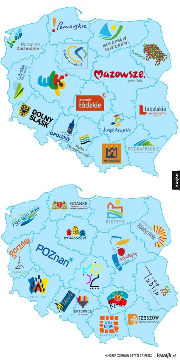 Logotypy polskich województw i ich stolic