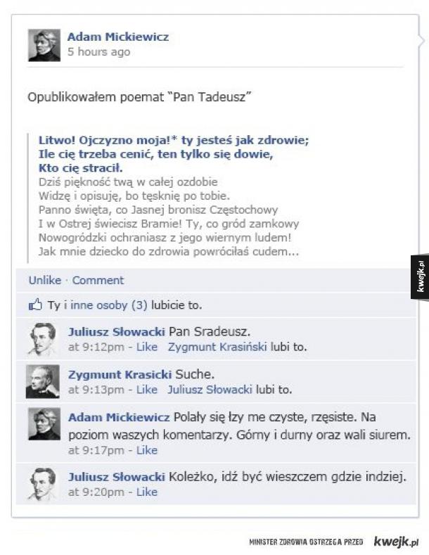 Gdyby pisarze mieli facebooka
