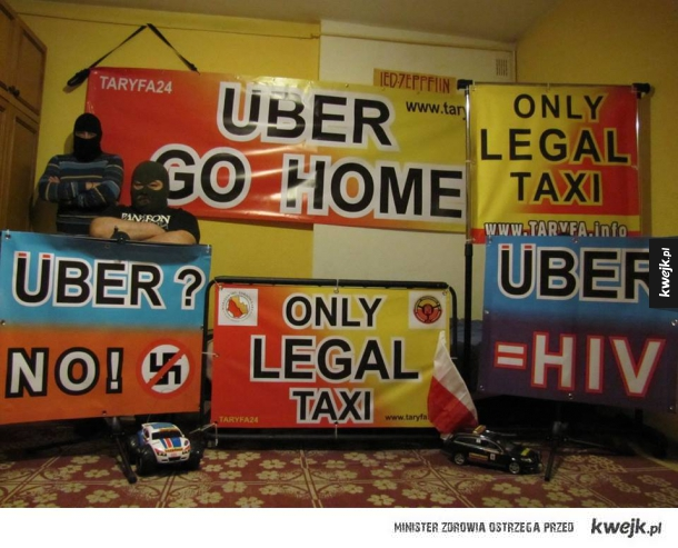 Taksówkarze strajkują przeciwko Uber :D