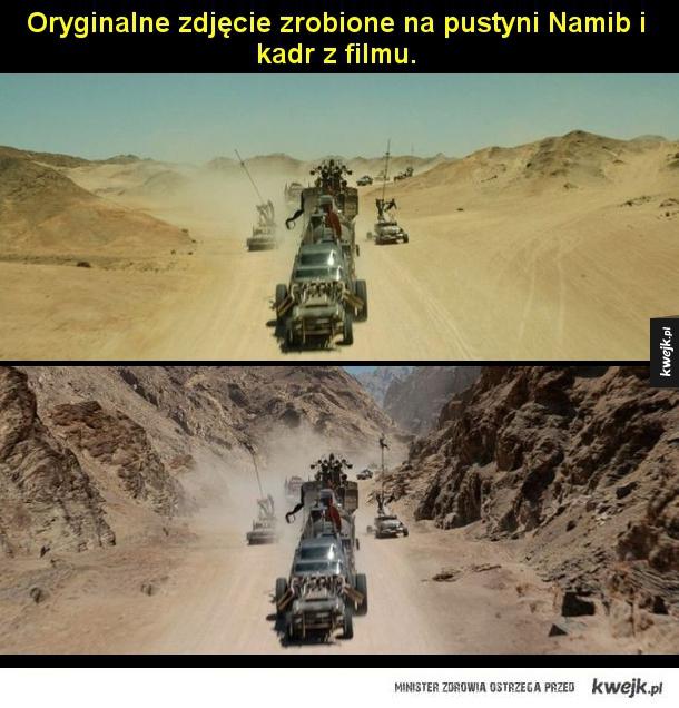 Mad Max w trakcie kręcenia filmu i po dodaniu efektów specjalnych