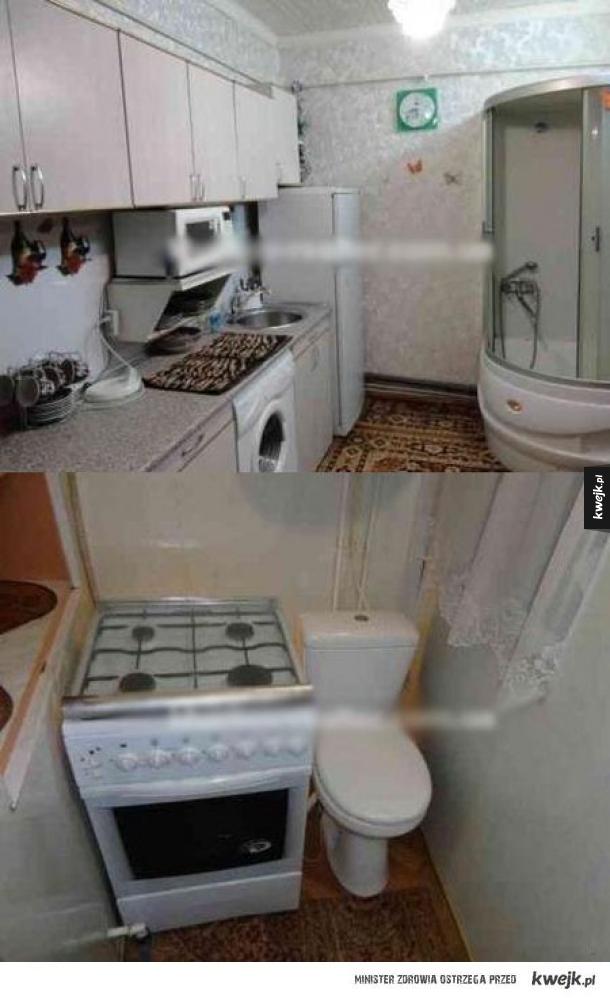 Kuchnia i łazienka w jednym