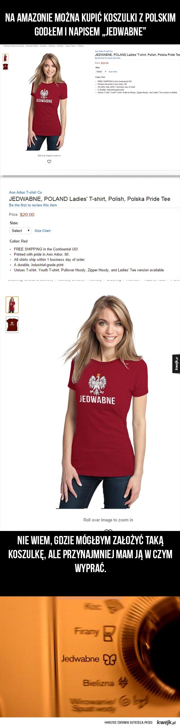 """Koszulki z napisem """"Jedwabne"""" na Amazonie"""