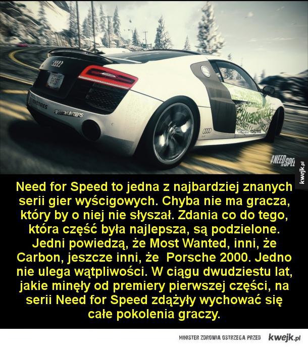 Gry, które każdy miłośnik wyścigów powinien znać - Need for Speed to jedna z najbardziej znanych serii gier wyścigowych. Chyba nie ma gracza, który by o niej nie słyszał. Zdania co do tego, która część była najlepsza, są podzielone. Jedni powiedzą, że Most Wanted, inni, że Carbon, jeszcze inni, że  Porsche