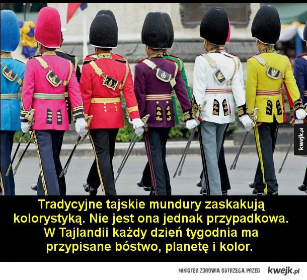 Tradycyjne tajskie mundury zaskakują kolorystyką. Nie jest ona jednak przypadkowa. W Tajlandii każdy dzień tygodnia ma przypisane bóstwo, planetę i kolor.   Liban. Żołnierze w strojach ochronnych.  Francja. Saperzy Legii Cudzoziemskiej w obcisłych fartucha