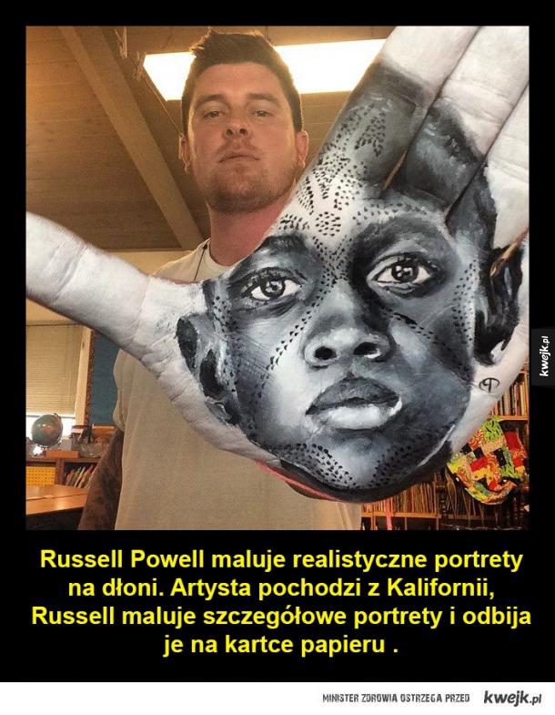 Niesamowite portrety malowane na dłoni - Russell Powell maluje realistyczne portrety na dłoni. Artysta pochodzi z Kalifornii, Russell maluje szczegółowe portrety i odbija je na kartce papieru .