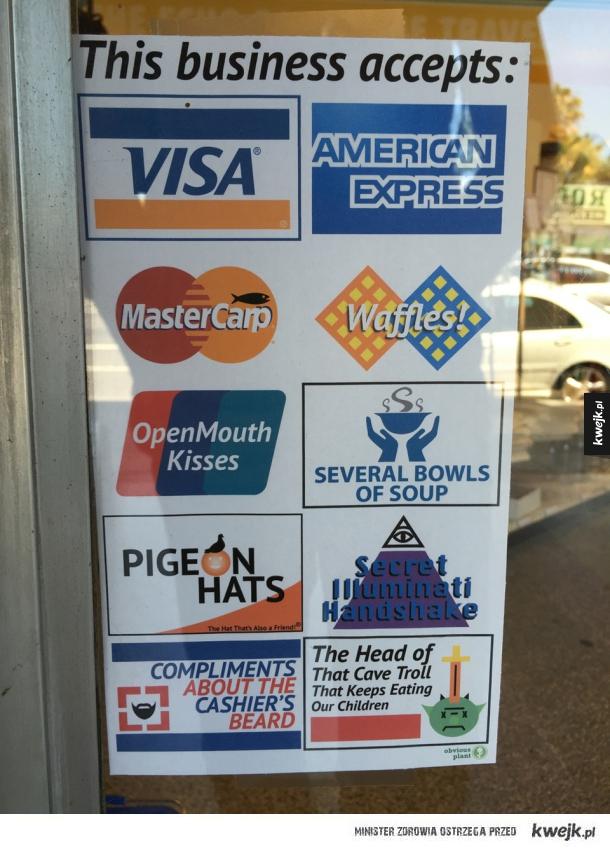 Różne rodzaje płatności