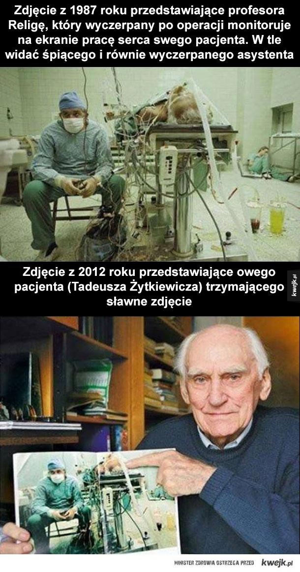 Zdjęcie chwytające za serce - Zbigniew Religa, operacja, przeszczep, serce, pacjent