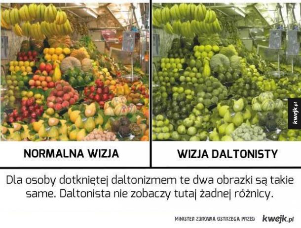 Normalna wizja vs. wizja daltonisty