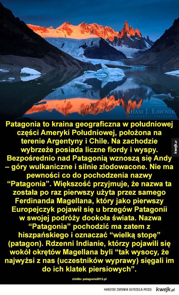 Patagonia to kraina geograficzna w południowej części Ameryki Południowej, położona na terenie Argentyny i Chile. Na zachodzie wybrzeże posiada liczne fiordy i wyspy. Bezpośrednio nad Patagonią wznoszą się Andy – góry wulkaniczne i silnie zlodowacone. Nie