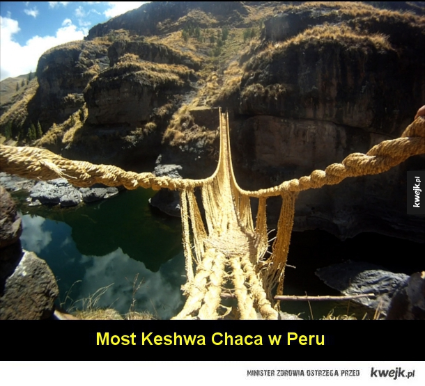 Most Kusma-Gyadi w Nepalu  Most Capilano w Vancouver w Kanadzie  Most Nieśmiertelnych w Górach Żółtych w Chinach  Most Hardanger w Norwegii  Bujający się most w Oribi Gorge w Afryce Południowej  Most w Pulau Langkawi w Malezji  Most Tybetański w Claviere w
