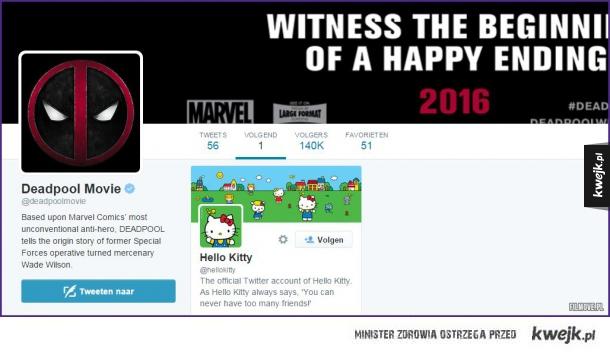 Deadpool śledzi na twitterze tylko jednego użytkownika :D