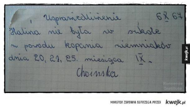 Usprawiedliwienie z 1967