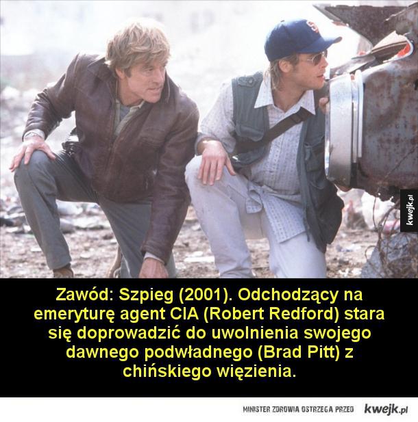 Filmy szpiegowskie, które warto zobaczyć - Zawód: Szpieg (2001). Odchodzący na emeryturę agent CIA (Robert Bedford) stara się doprowadzić do uwolnienia swojego dawnego podwładnego (Brad Pitt) z chińskiego więzienia.  Monachium (2005). W 1972 roku na igrzyskach olimpijskich w Monachium izraelscy spo