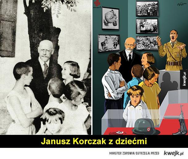 Prowokacyjne grafiki Gunduza Aghayeva - janusz korczak, oświęcim, II wojna światowa, wietnam, napalm, afryka, sęp, pulitzer